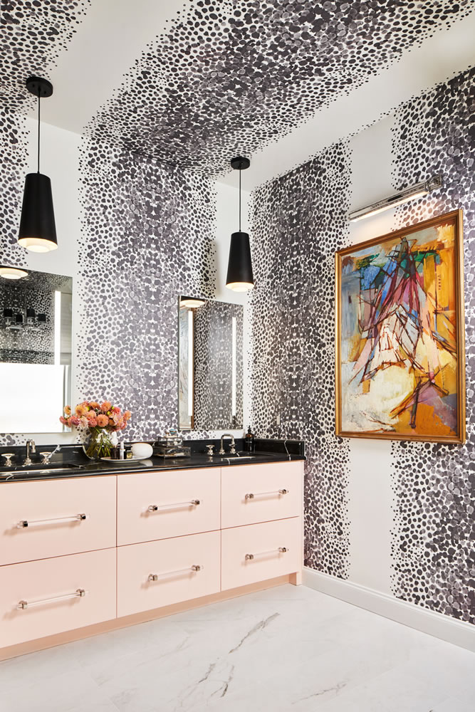 Bold Bathroom Design with Pink Cabinets with Lucite Bar Pulls